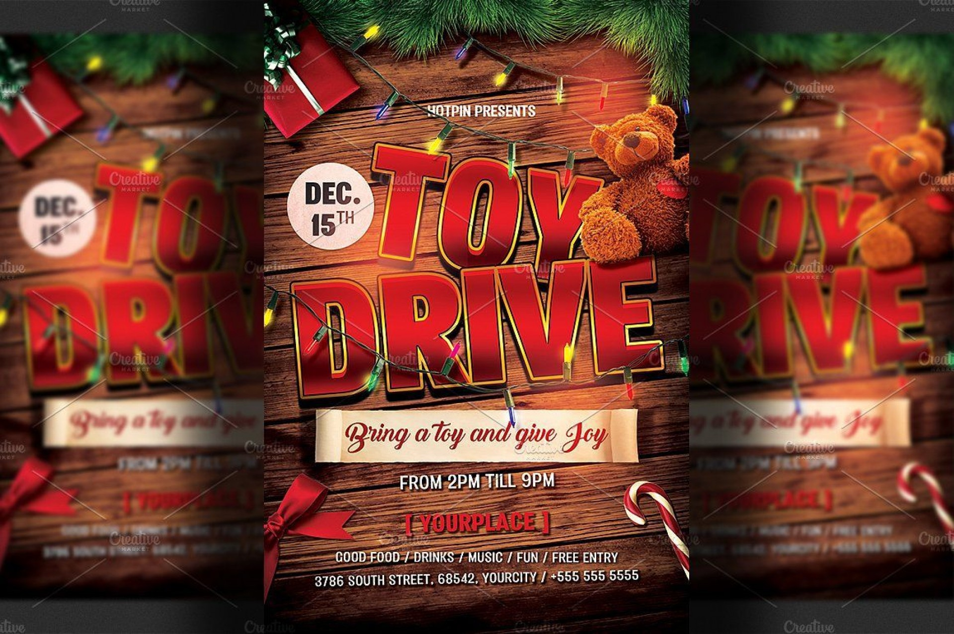 003 Singular Toy Drive Flyer Template Highest Quality  Holiday Download Free Word1920