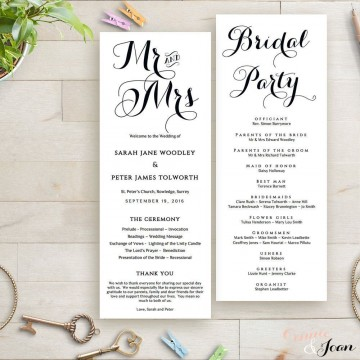 003 Singular Wedding Order Of Service Template Free Idea  Front Cover Download Church360