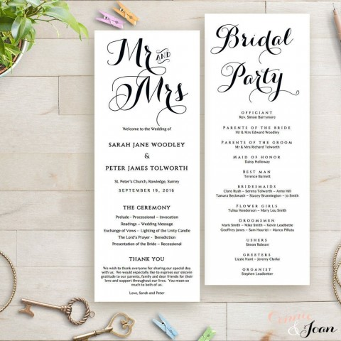 003 Singular Wedding Order Of Service Template Free Idea  Front Cover Download Church480