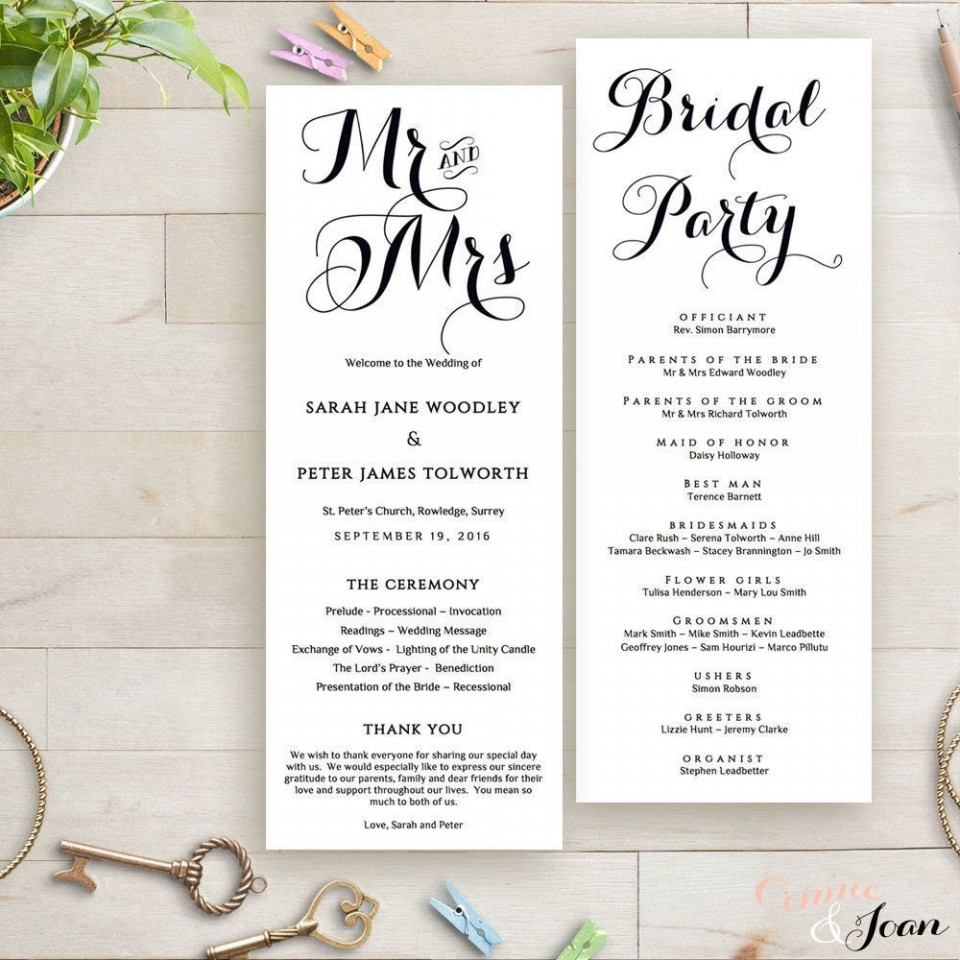 003 Singular Wedding Order Of Service Template Free Idea  Front Cover Download Church960