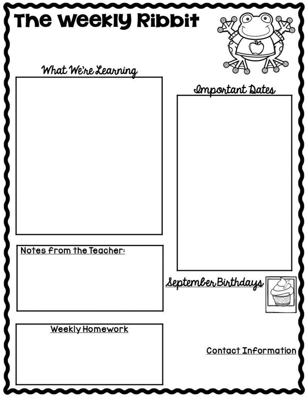 003 Singular Weekly Newsletter Template For Teacher Free Highest Quality Large