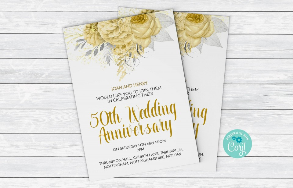 003 Staggering 50th Anniversary Invitation Template High Resolution  Wedding Microsoft Word Free Download960