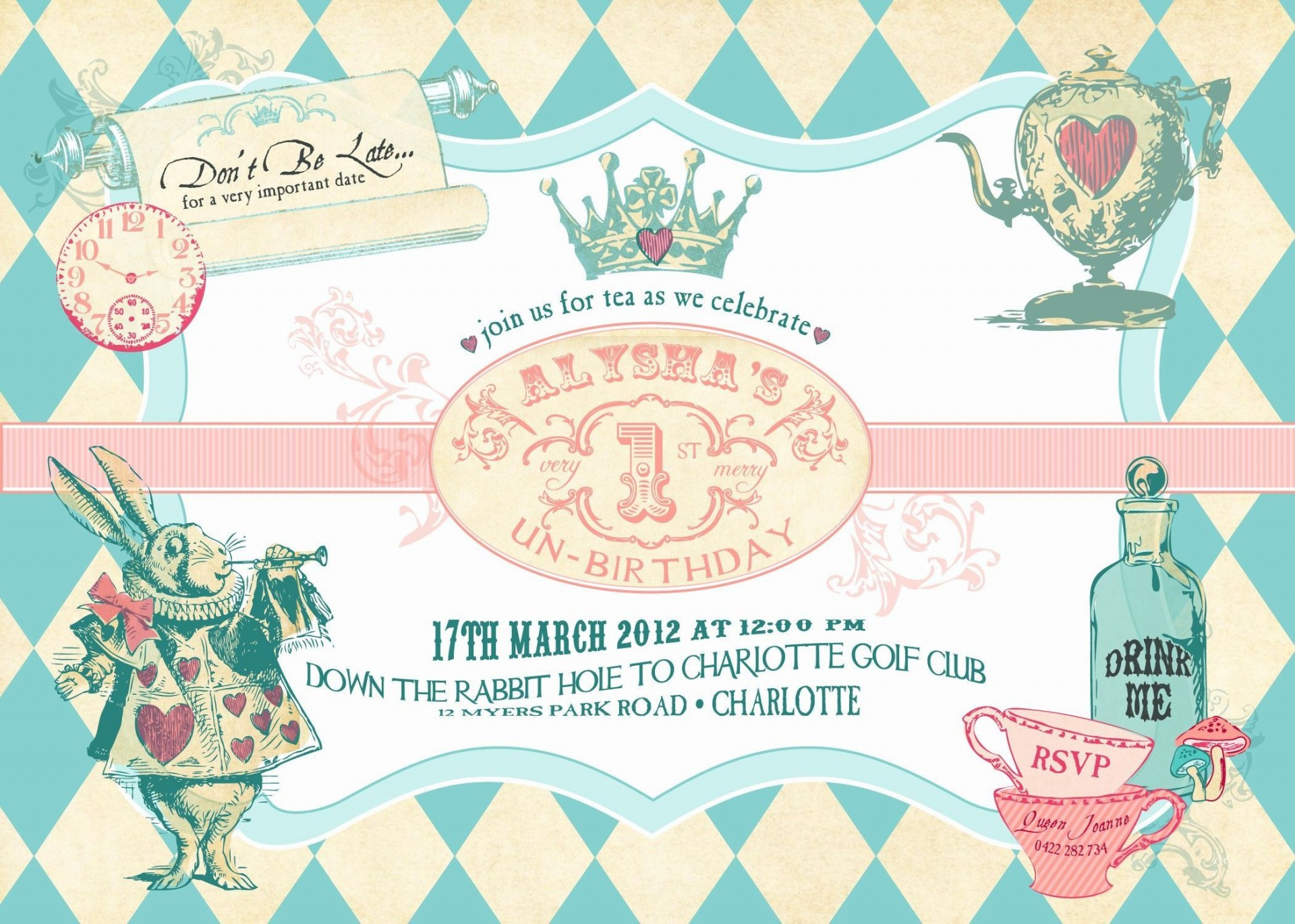 003 Staggering Alice In Wonderland Party Template High Resolution  Templates Invitation Free1920