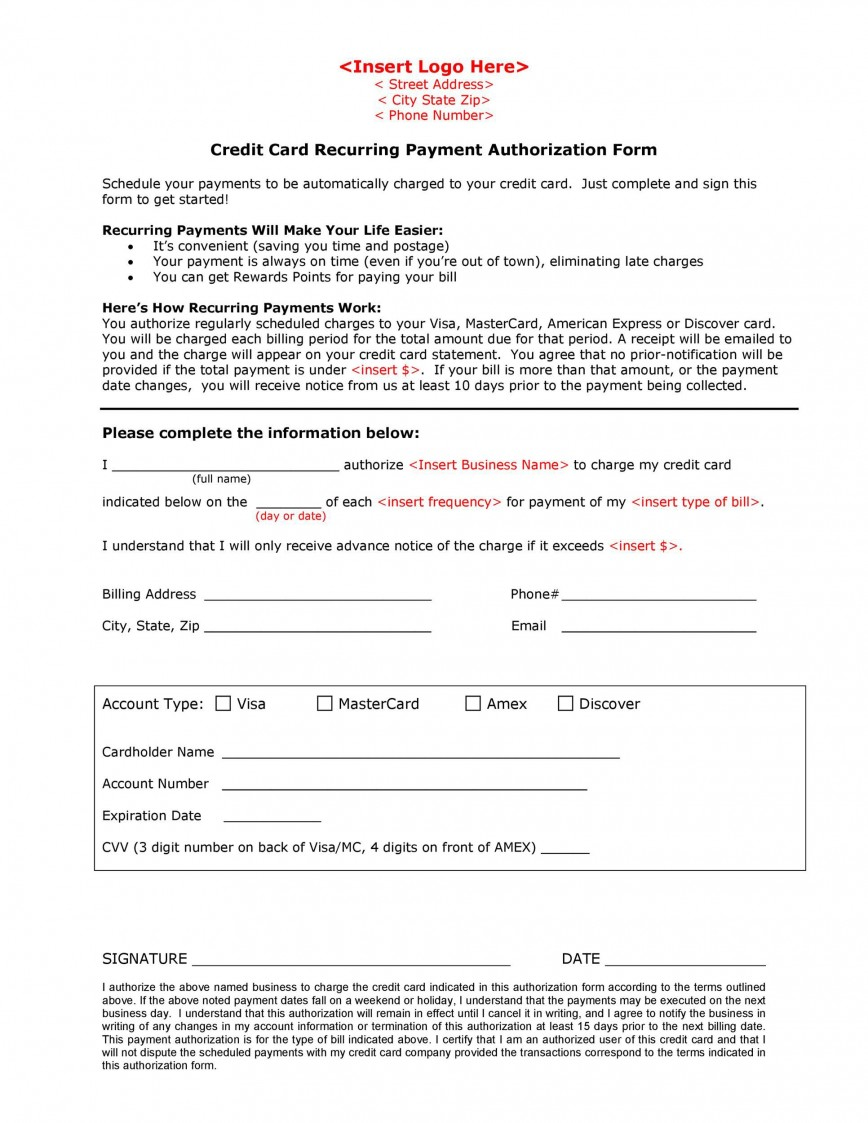 003 Staggering Automatic Credit Card Payment Authorization Form Template High Def