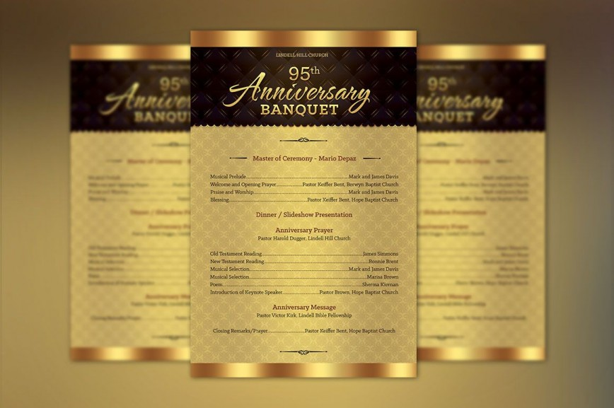 003 Staggering Church Bulletin Template Word Concept  Anniversary Program Free