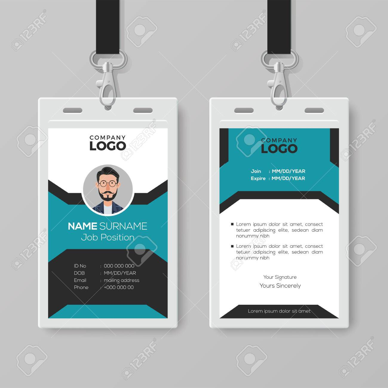 003 Staggering Employee Id Card Template Example  Free Download Psd WordFull