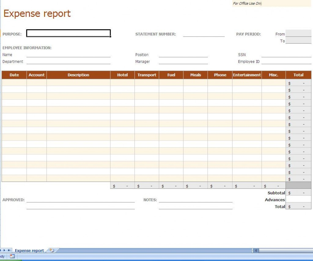 003 Staggering Expense Report Template Excel Highest Quality  Free Format 2010Large