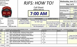 003 Staggering Film Call Sheet Sample High Resolution  Template Download Excel Google Doc