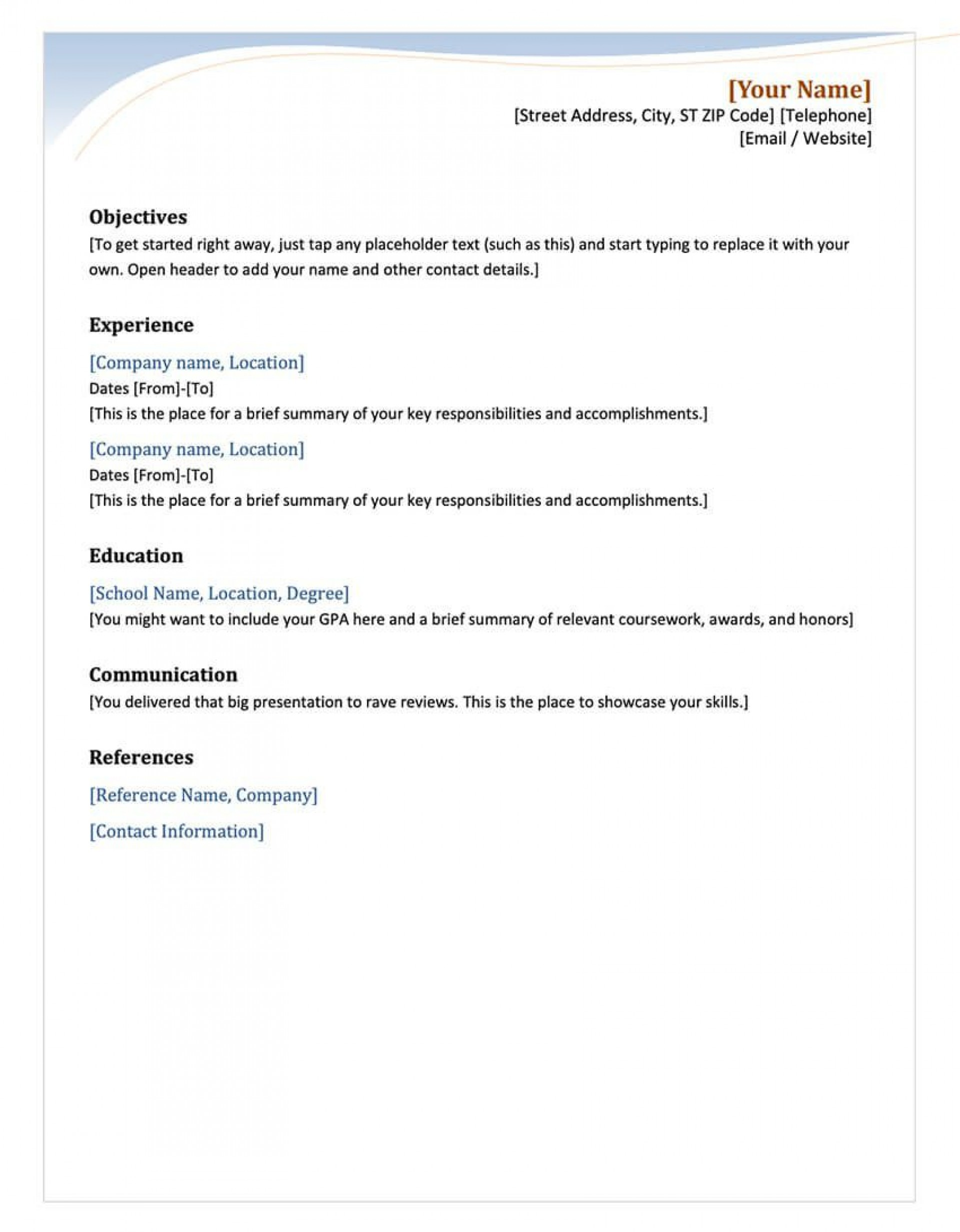 003 Staggering Free Chronological Resume Template Example  2020 Cv1920