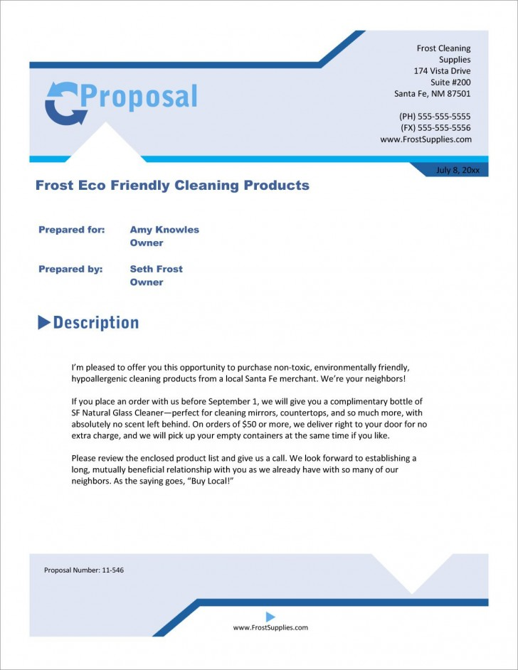 003 Staggering Free Cleaning Proposal Template High Definition  Doc Office Bid728
