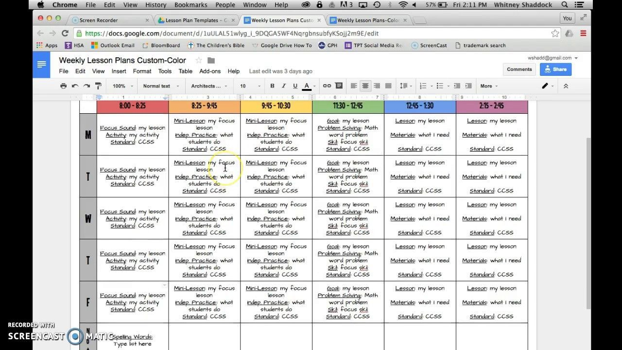 003 Staggering Free Weekly Lesson Plan Template Google Doc Highest Clarity Full