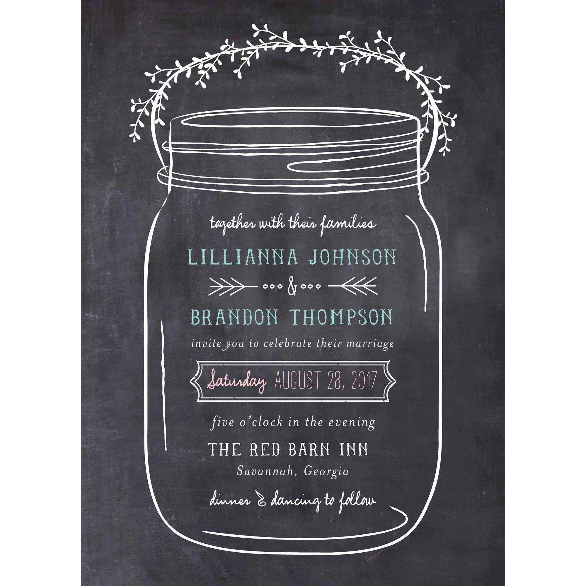 003 Staggering Mason Jar Invitation Template Photo  Free Wedding Shower RusticFull