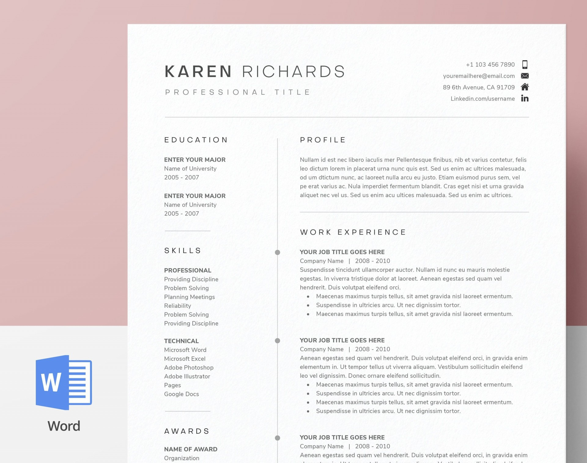 003 Staggering One Page Resume Template Picture  Templates Microsoft Word Free1920