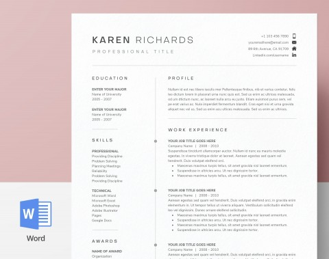 003 Staggering One Page Resume Template Picture  Word Free For Fresher Ppt Download Html480