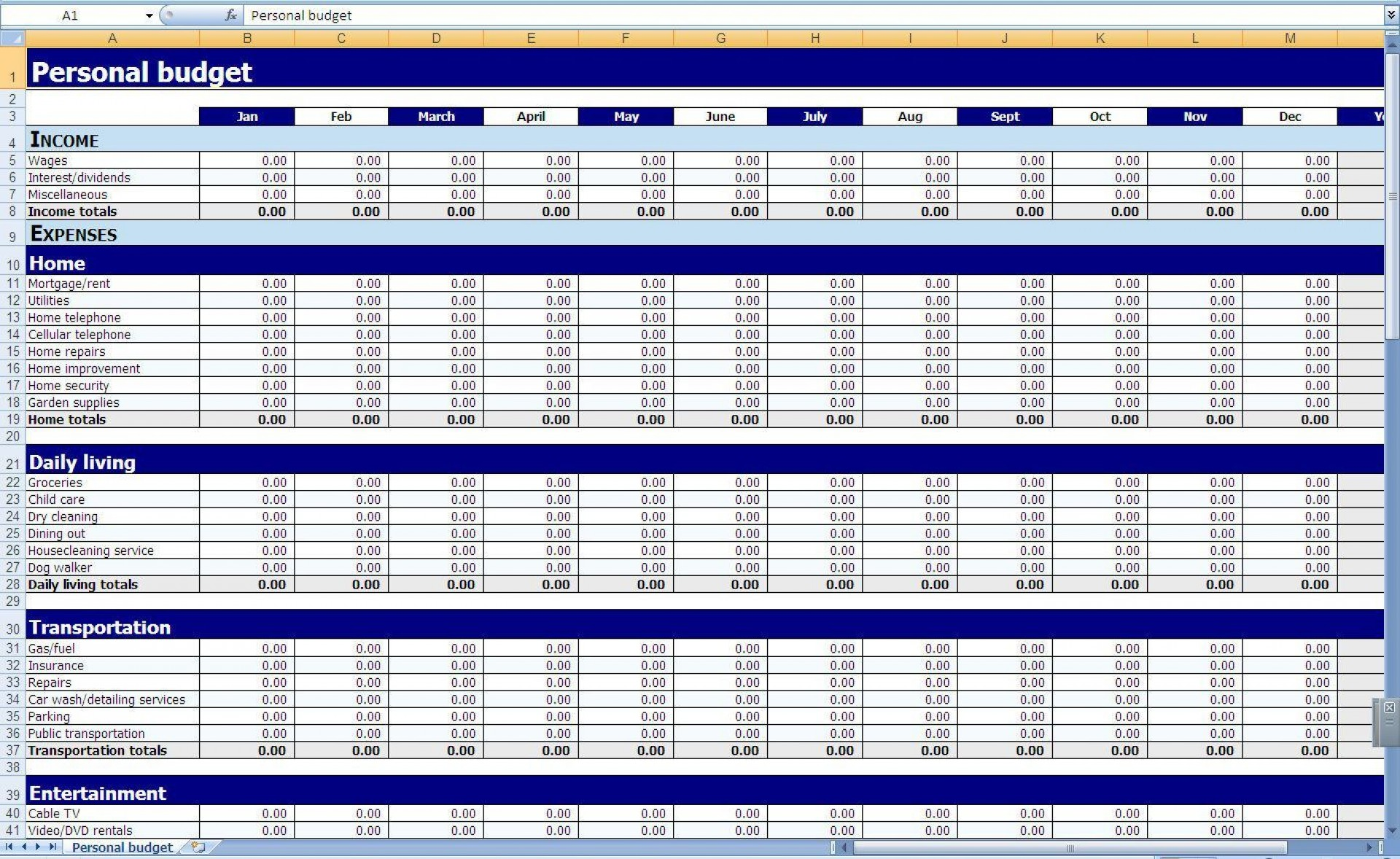 003 Staggering Personal Budget Template Excel Inspiration  Monthly Sheet Free 2007 South Africa1920