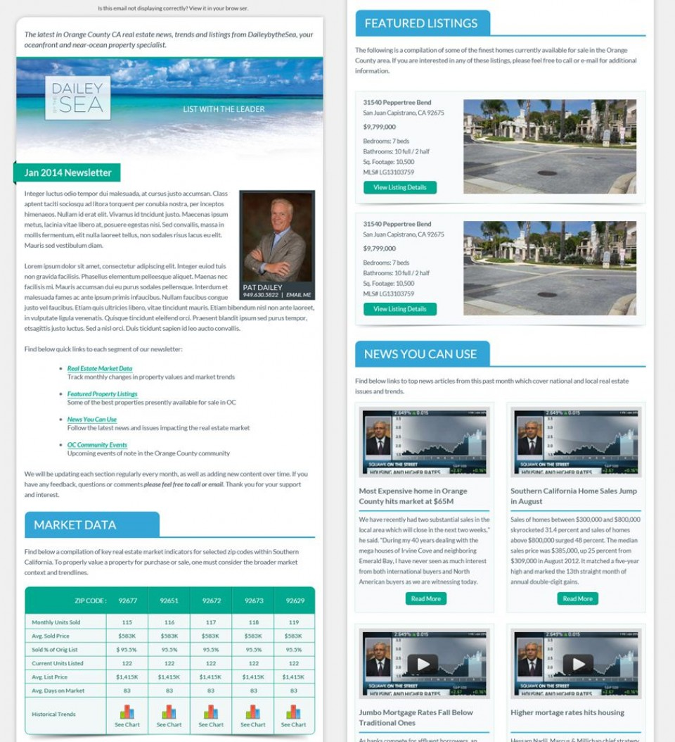 003 Staggering Real Estate Newsletter Template Idea  Free Mailchimp960