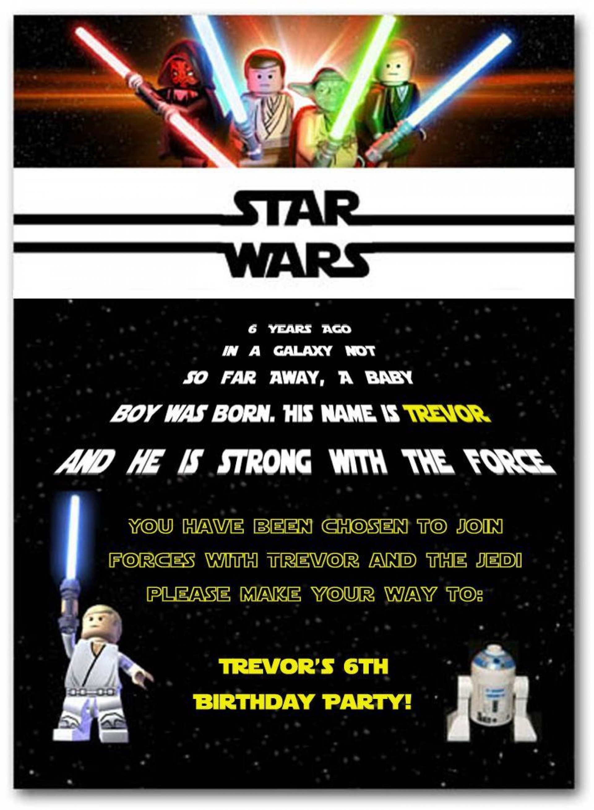 003 Staggering Star War Birthday Invitation Template Picture  Free Party Printable1920