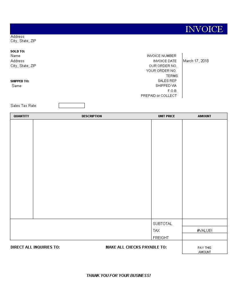 003 Stirring Blank Invoice Template Excel Image  Free Download ReceiptFull