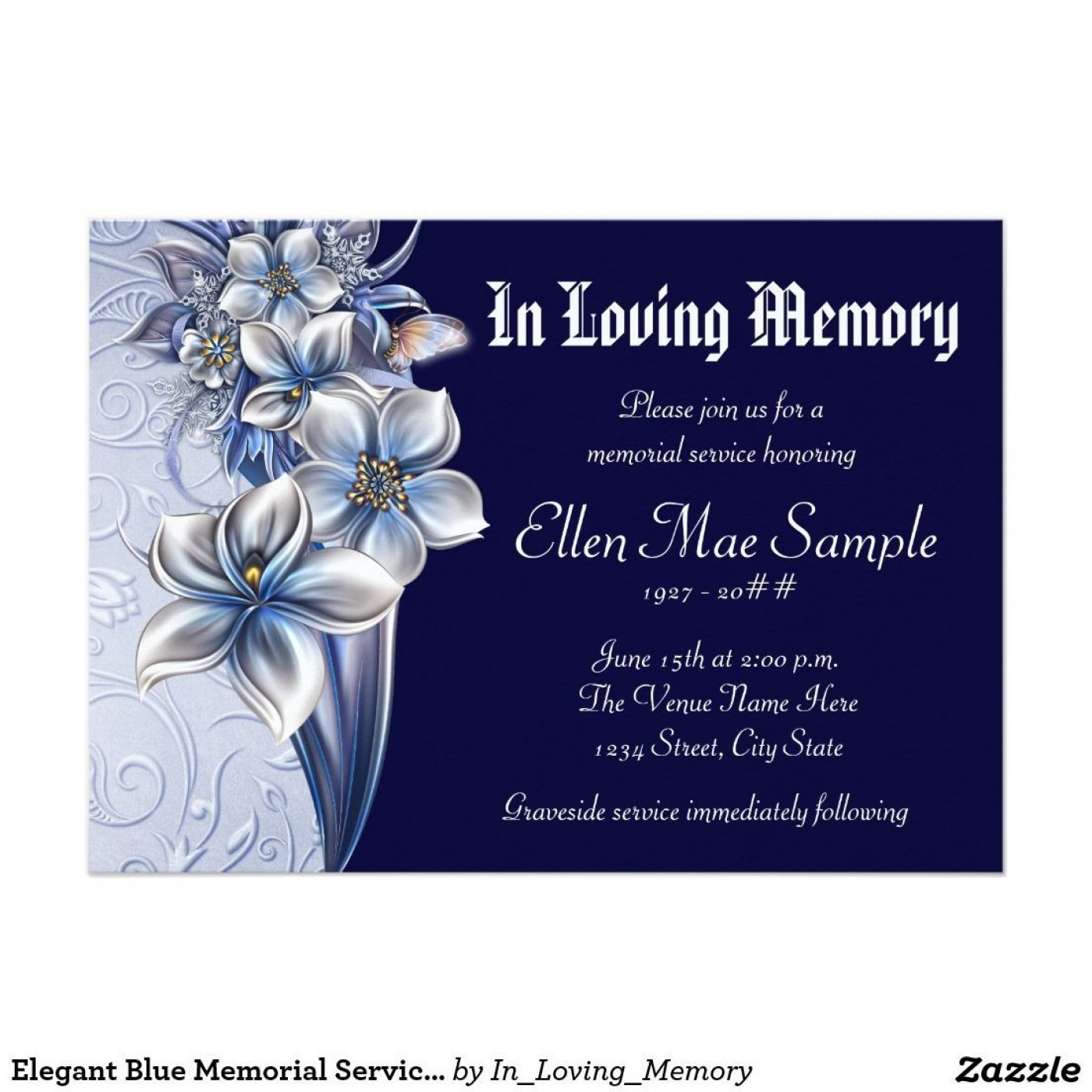003 Stirring Celebration Of Life Invite Template Free Example  Invitation Download1400