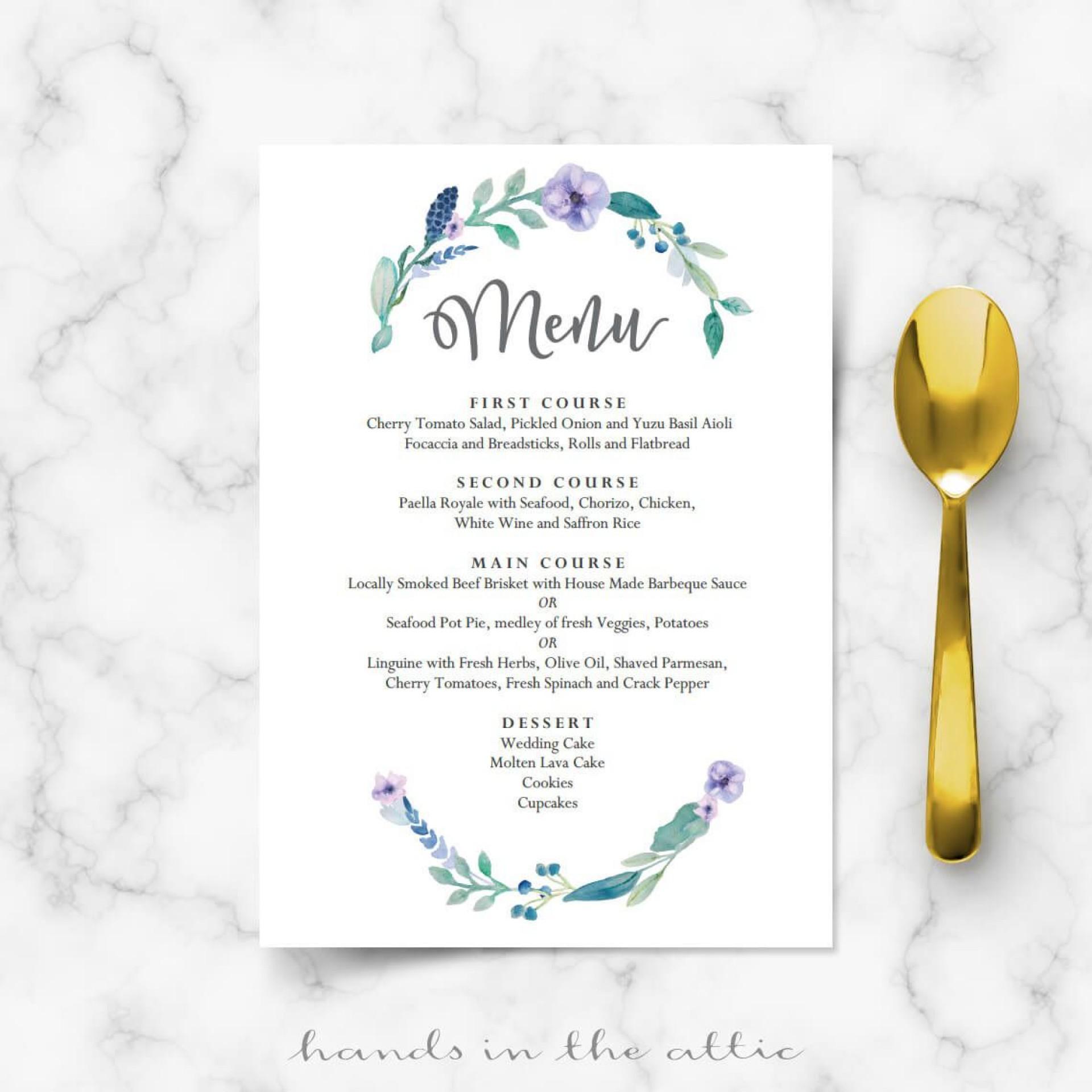 003 Stirring Diy Wedding Menu Template Highest Quality  Free Card1920