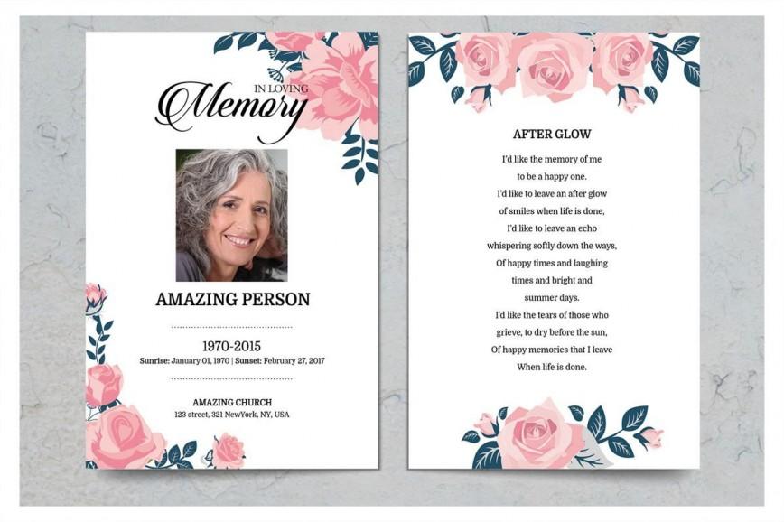 Free Memorial Card Template Addictionary