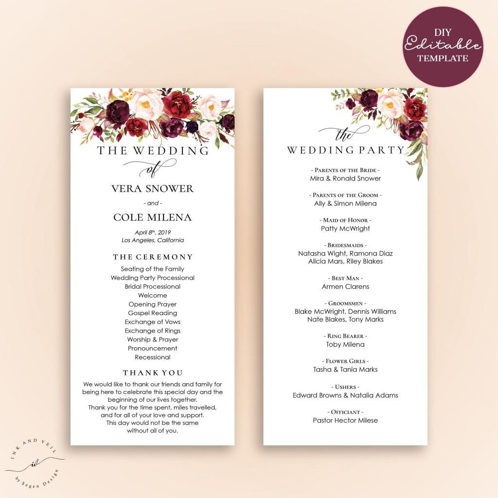003 Stirring Free Template For Wedding Ceremony Program Design Large