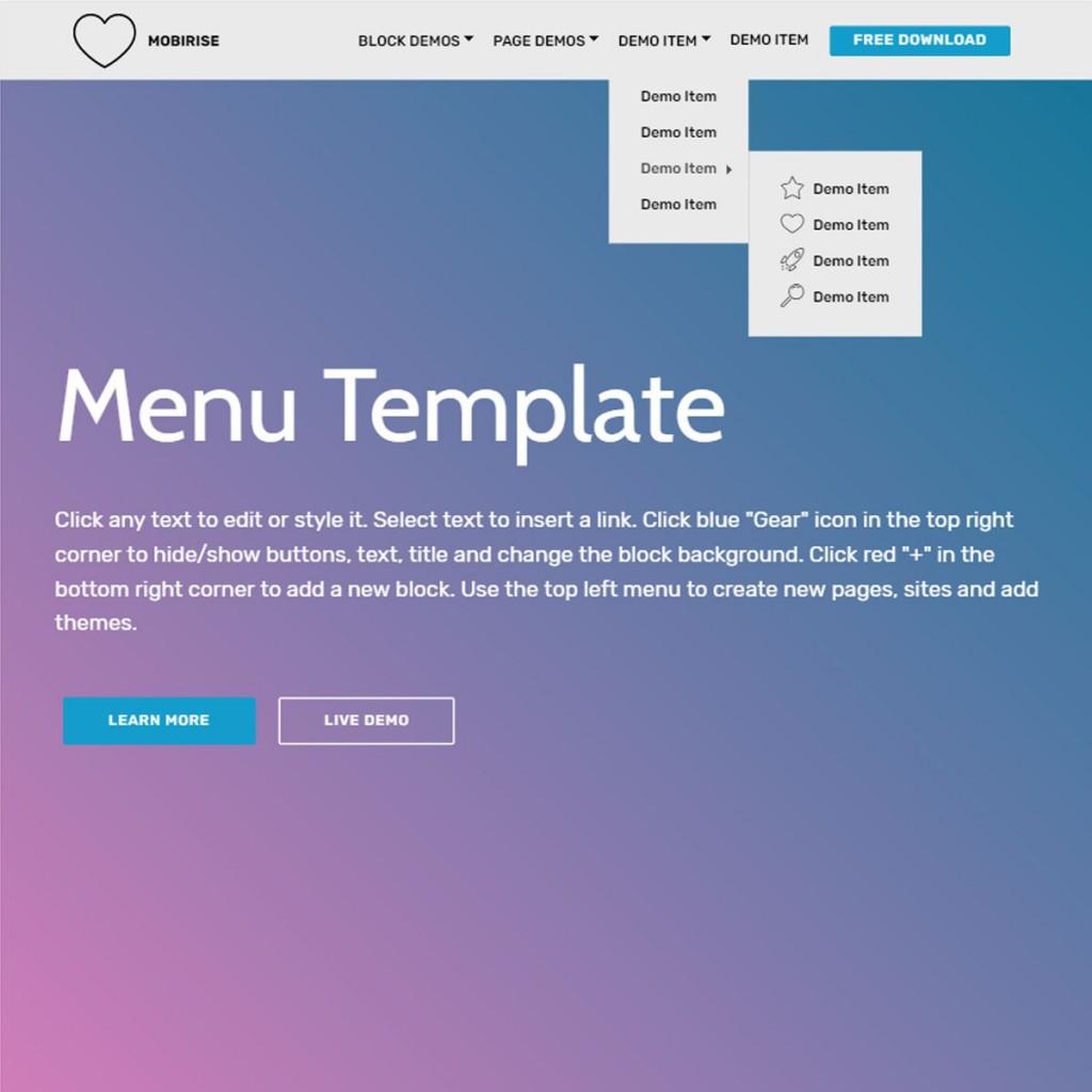 003 Stirring Html5 Menu Bar Template Free Download Sample Large
