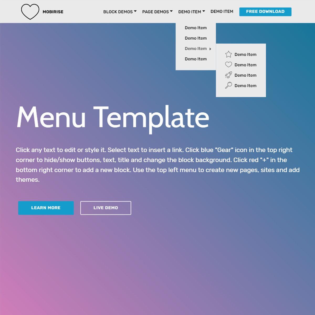 003 Stirring Html5 Menu Bar Template Free Download Sample Full
