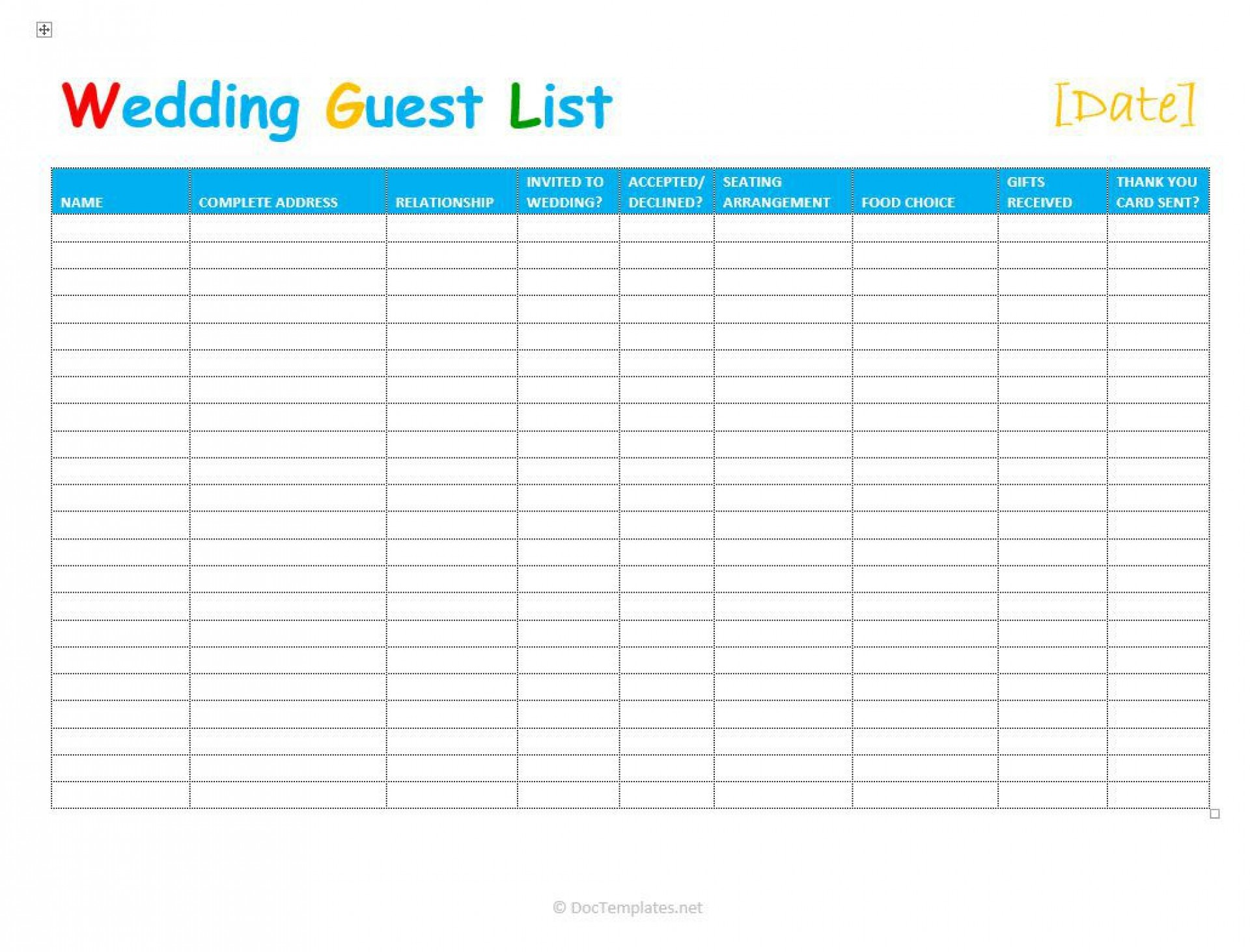 003 Stirring Party Guest List Template Excel Free Highest Quality 1920
