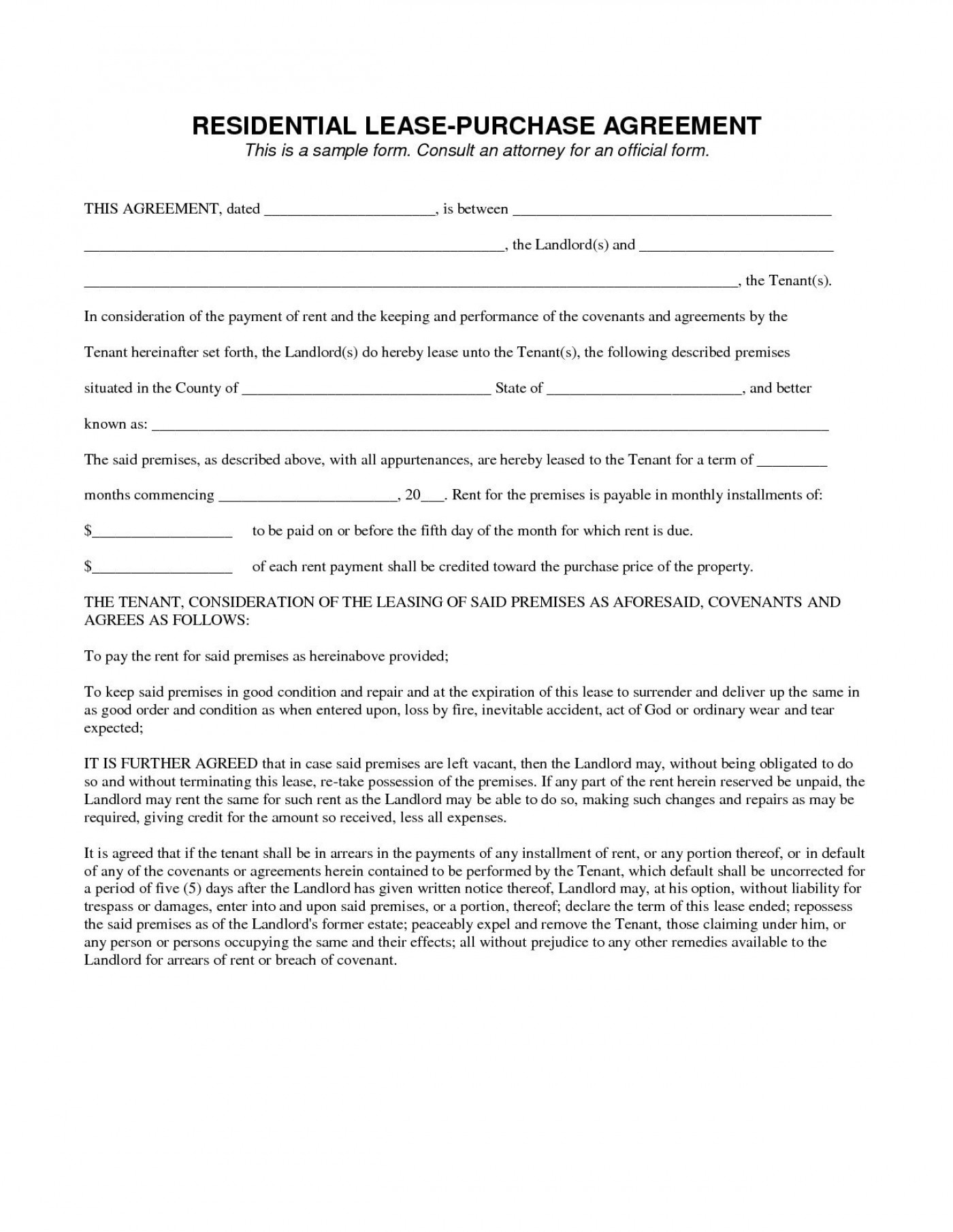 003 Stirring Rent To Own Agreement Template Sample  Contract Florida South Africa1400