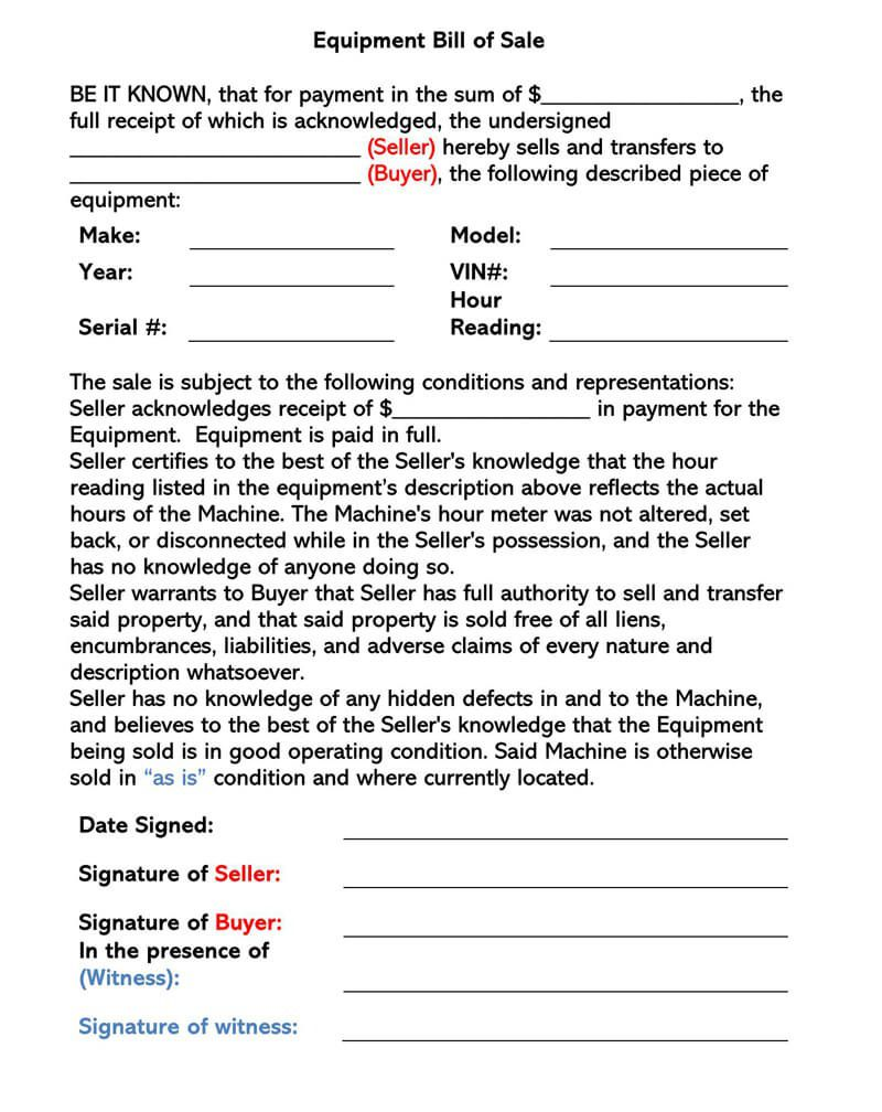003 Striking Equipment Bill Of Sale Form High Definition  Forms Word Document Alberta Simple TemplateFull