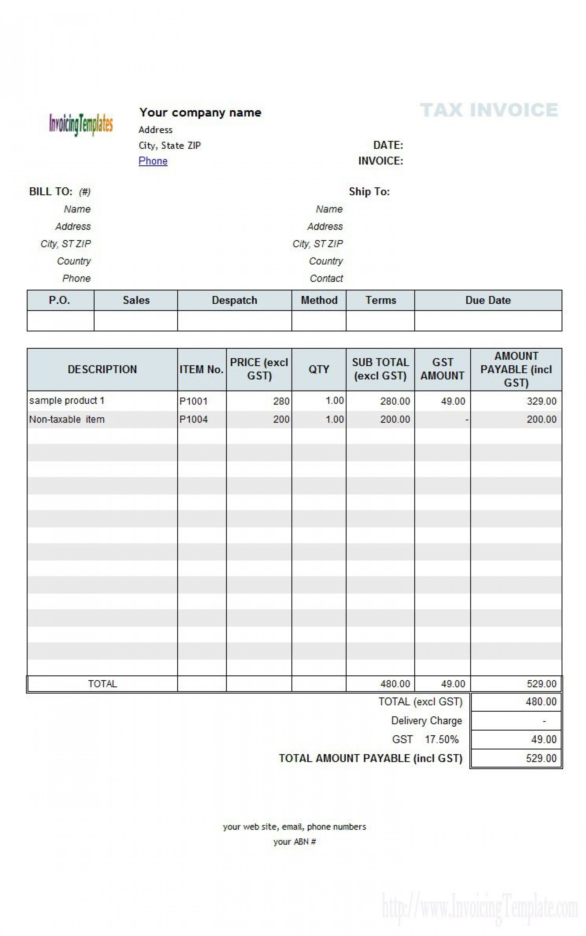 003 Striking Excel Invoice Template Gst Free Download Highest Clarity 1920