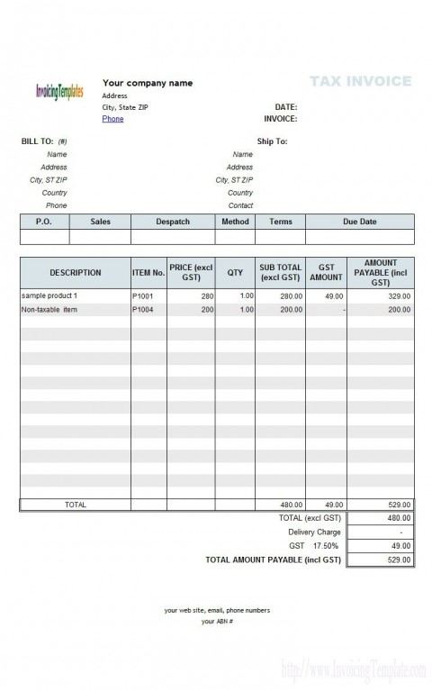 003 Striking Excel Invoice Template Gst Free Download Highest Clarity 480