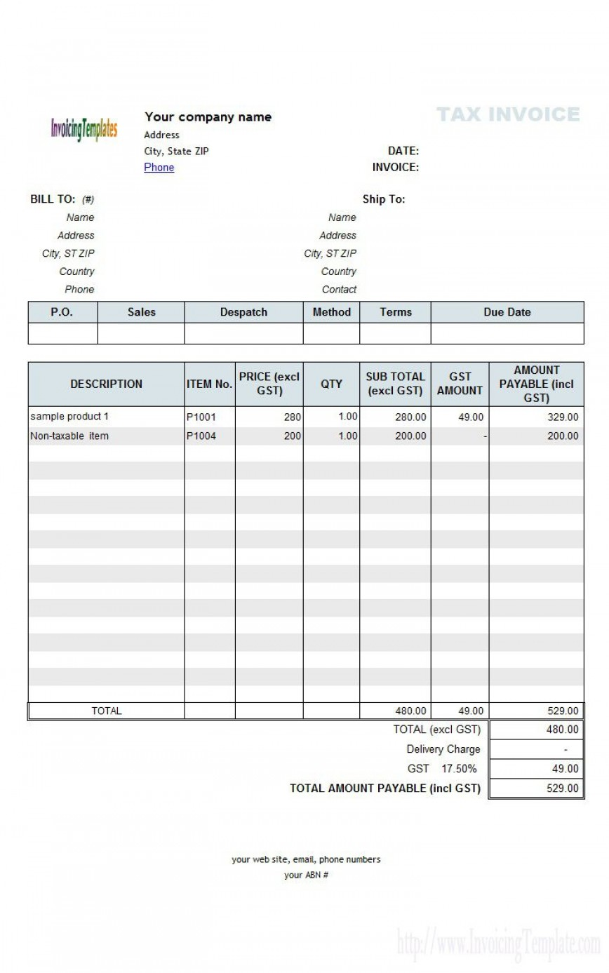 003 Striking Excel Invoice Template Gst Free Download Highest Clarity 868