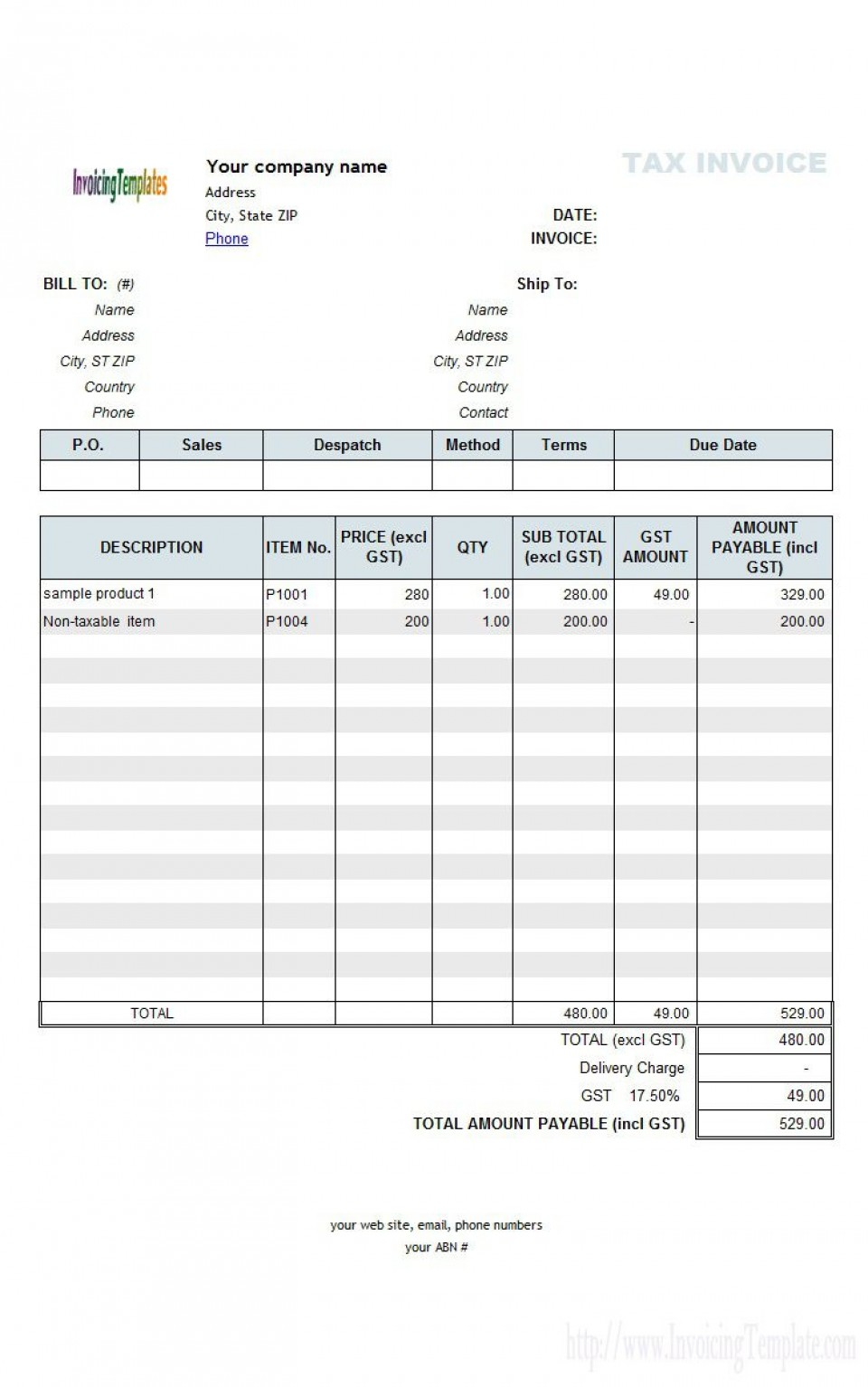 003 Striking Excel Invoice Template Gst Free Download Highest Clarity 960