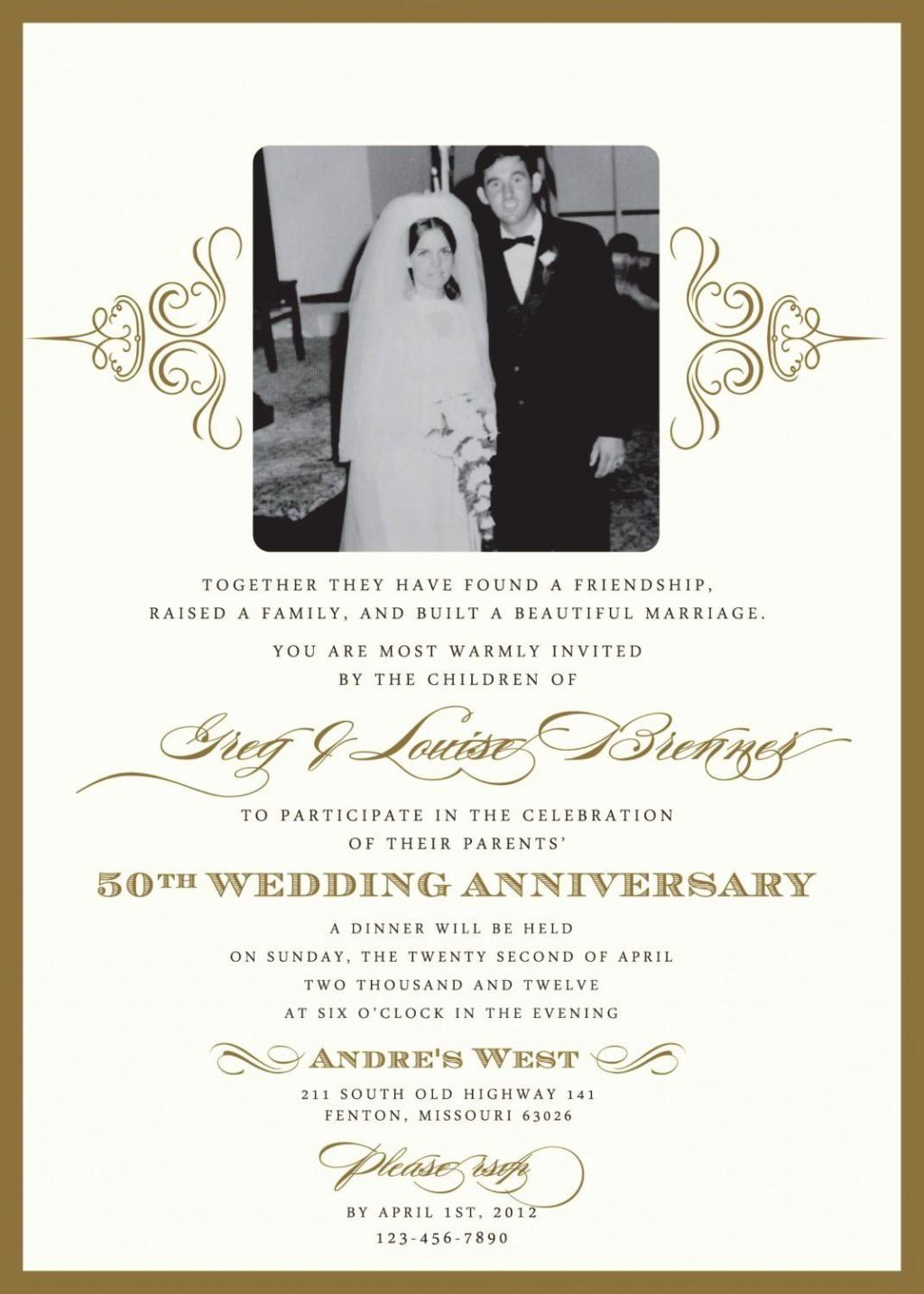 003 Striking Golden Wedding Anniversary Invitation Template Free Highest Clarity  50th Microsoft Word DownloadLarge