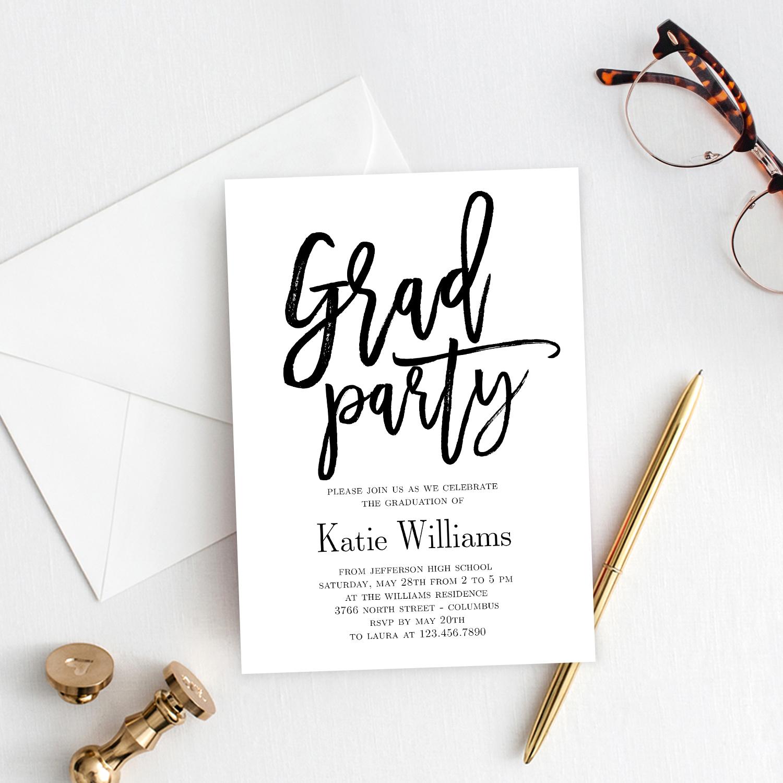 003 Striking Graduation Party Invitation Template Inspiration  Microsoft Word 4 Per PageFull