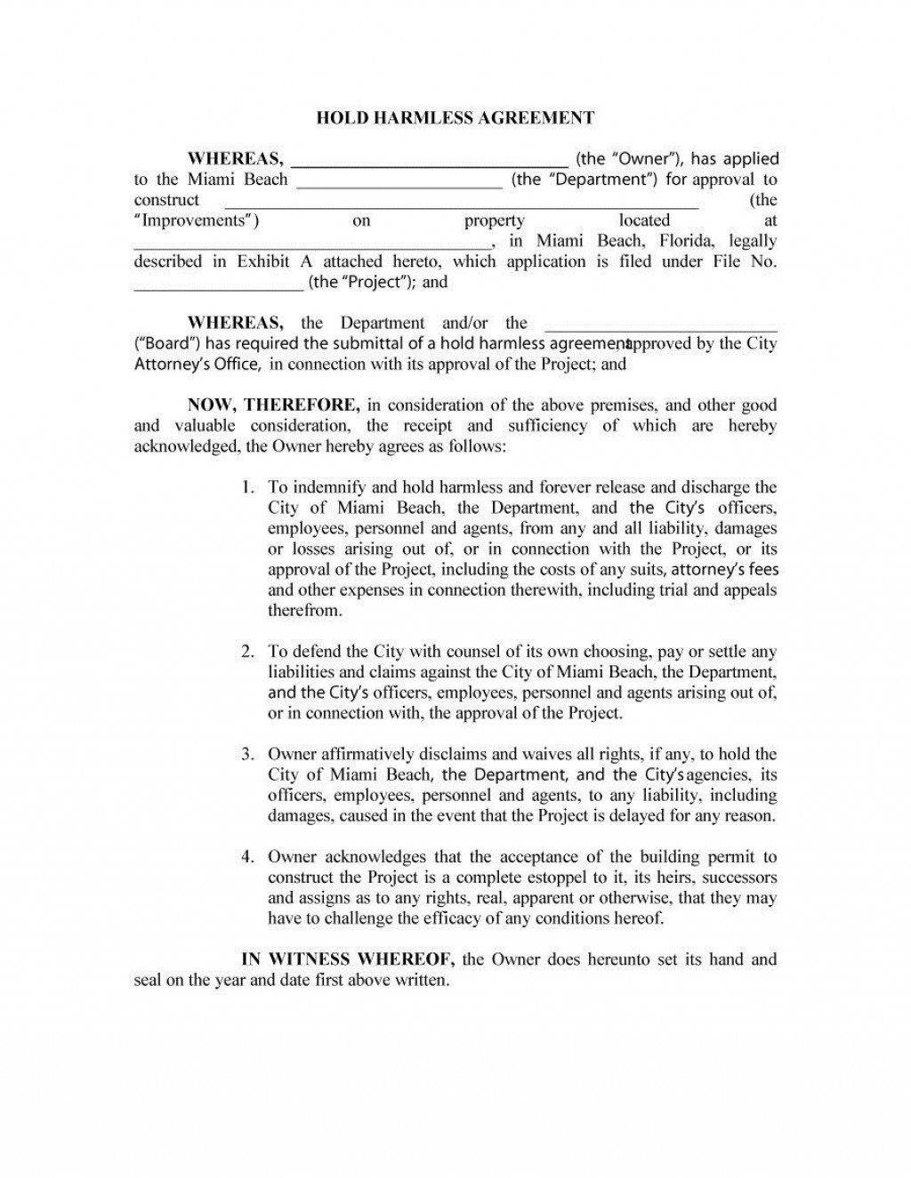 003 Striking Hold Harmles Agreement Template High Definition  Canada Word Free DownloadLarge