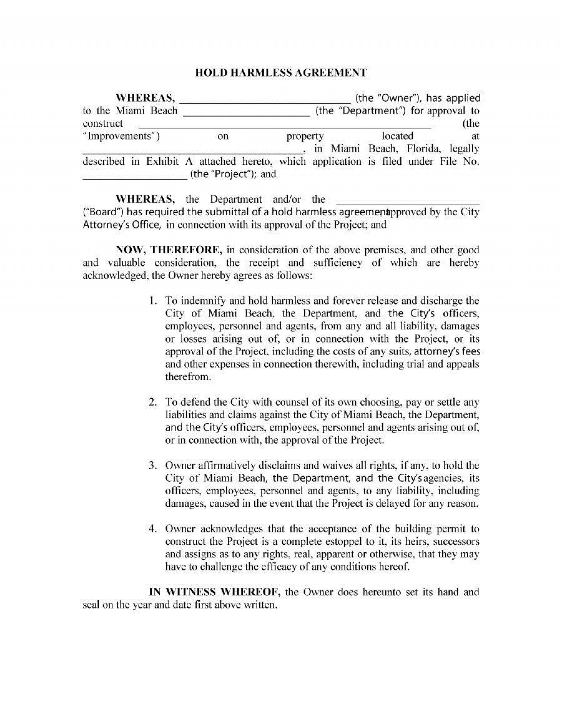 003 Striking Hold Harmles Agreement Template High Definition  Canada Word Free Download1920