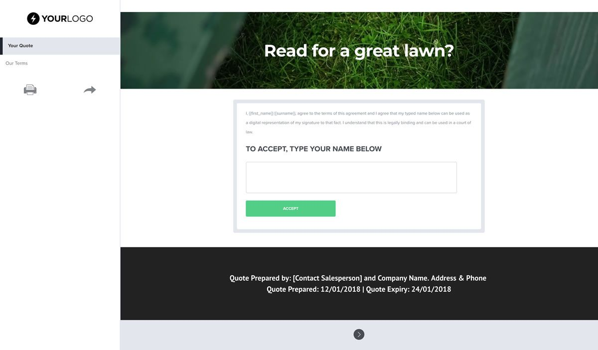 003 Striking Lawn Care Bid Template Idea  Sheet Commercial Service Proposal FreeFull