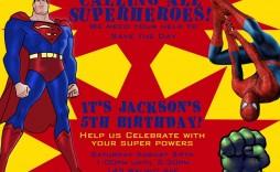 003 Striking Superhero Newspaper Invitation Template Free Concept