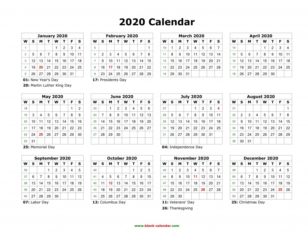 003 Stunning 2020 Blank Calendar Template Image  Printable Monthly Word Downloadable With HolidayLarge