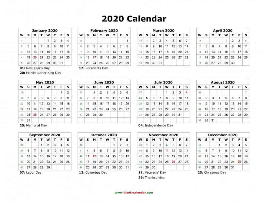 003 Stunning 2020 Blank Calendar Template Image  Downloadable With Holiday Word