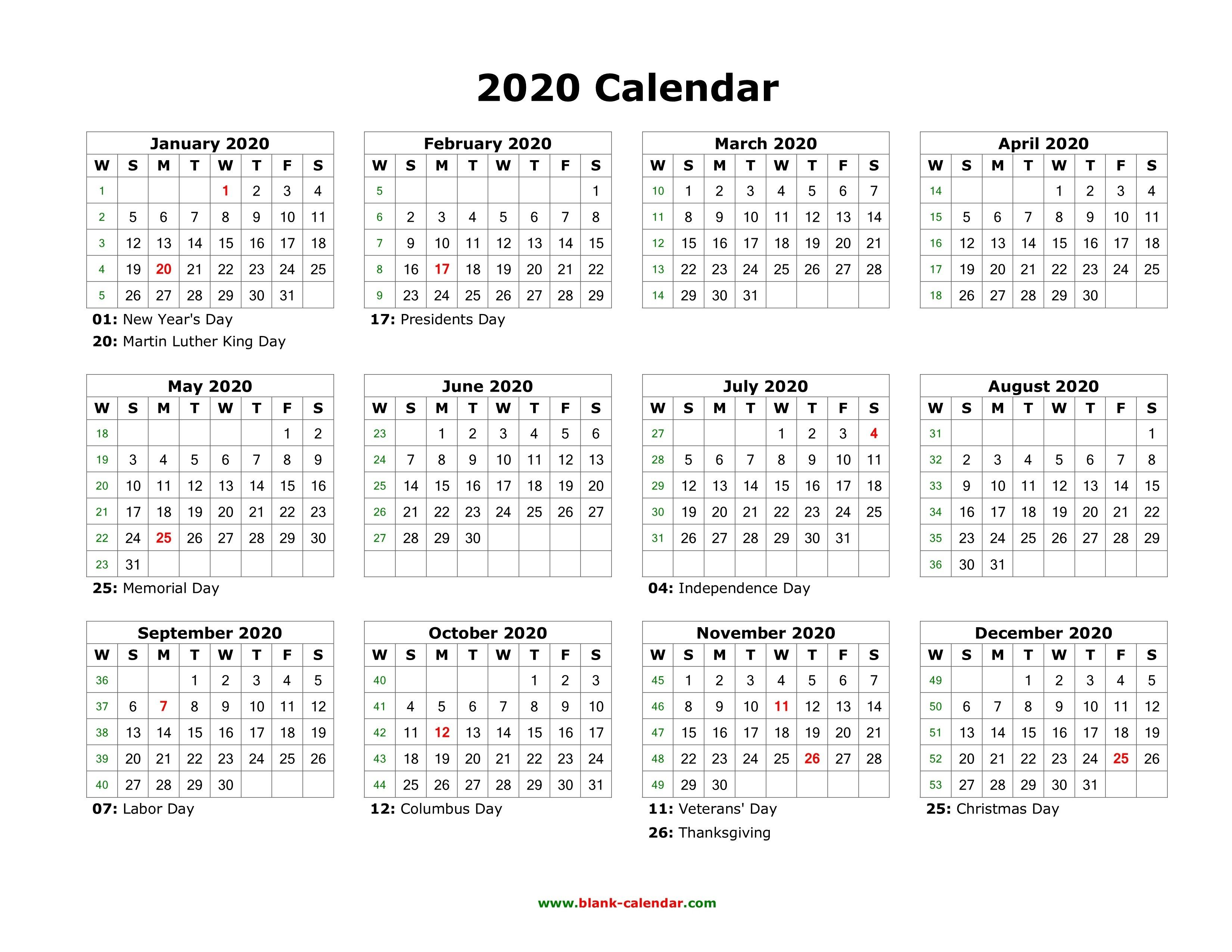 003 Stunning 2020 Blank Calendar Template Image  Printable Monthly Word Downloadable With HolidayFull