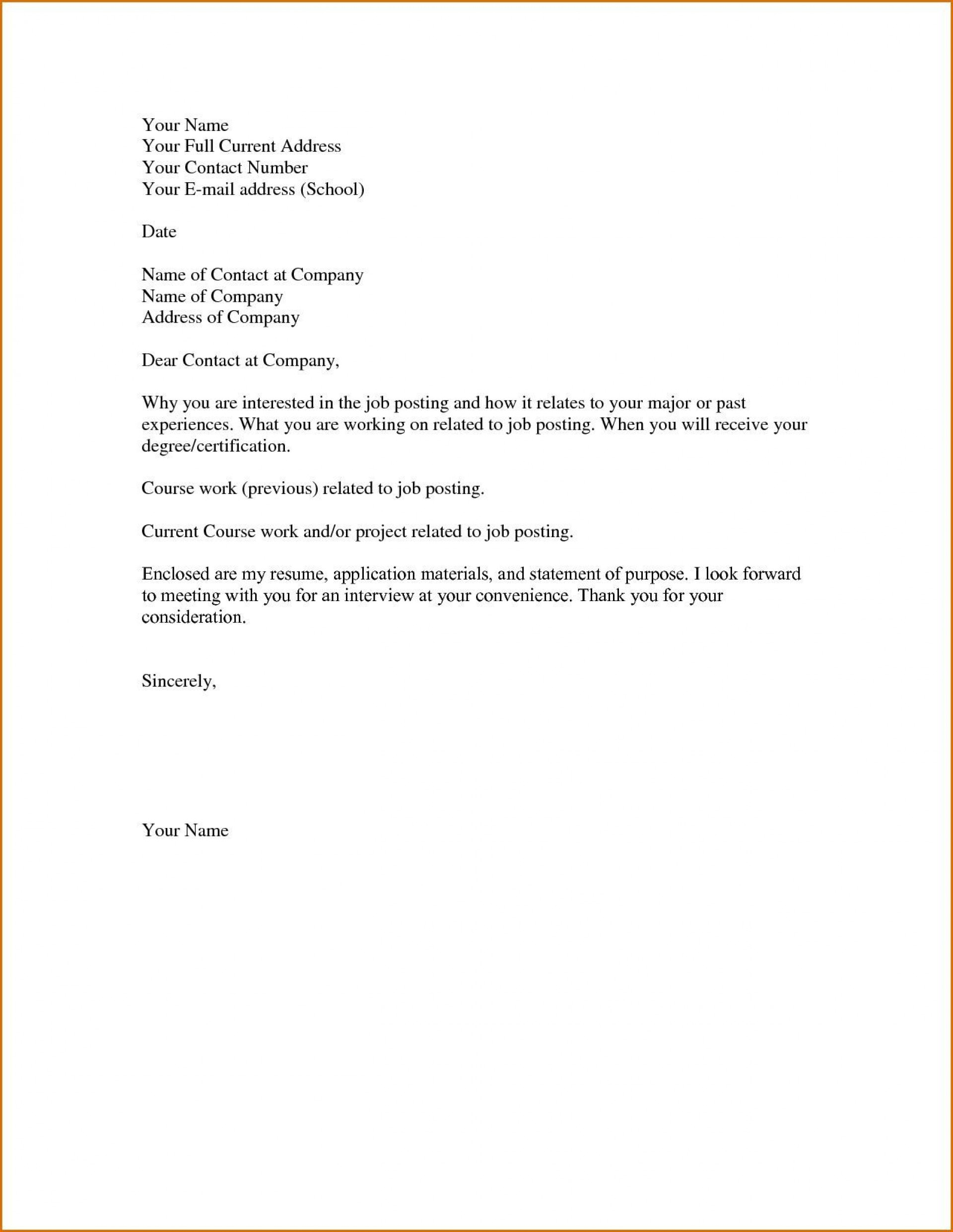 003 Stunning Basic Covering Letter Template Picture  Simple Application Job Sample Cover1920