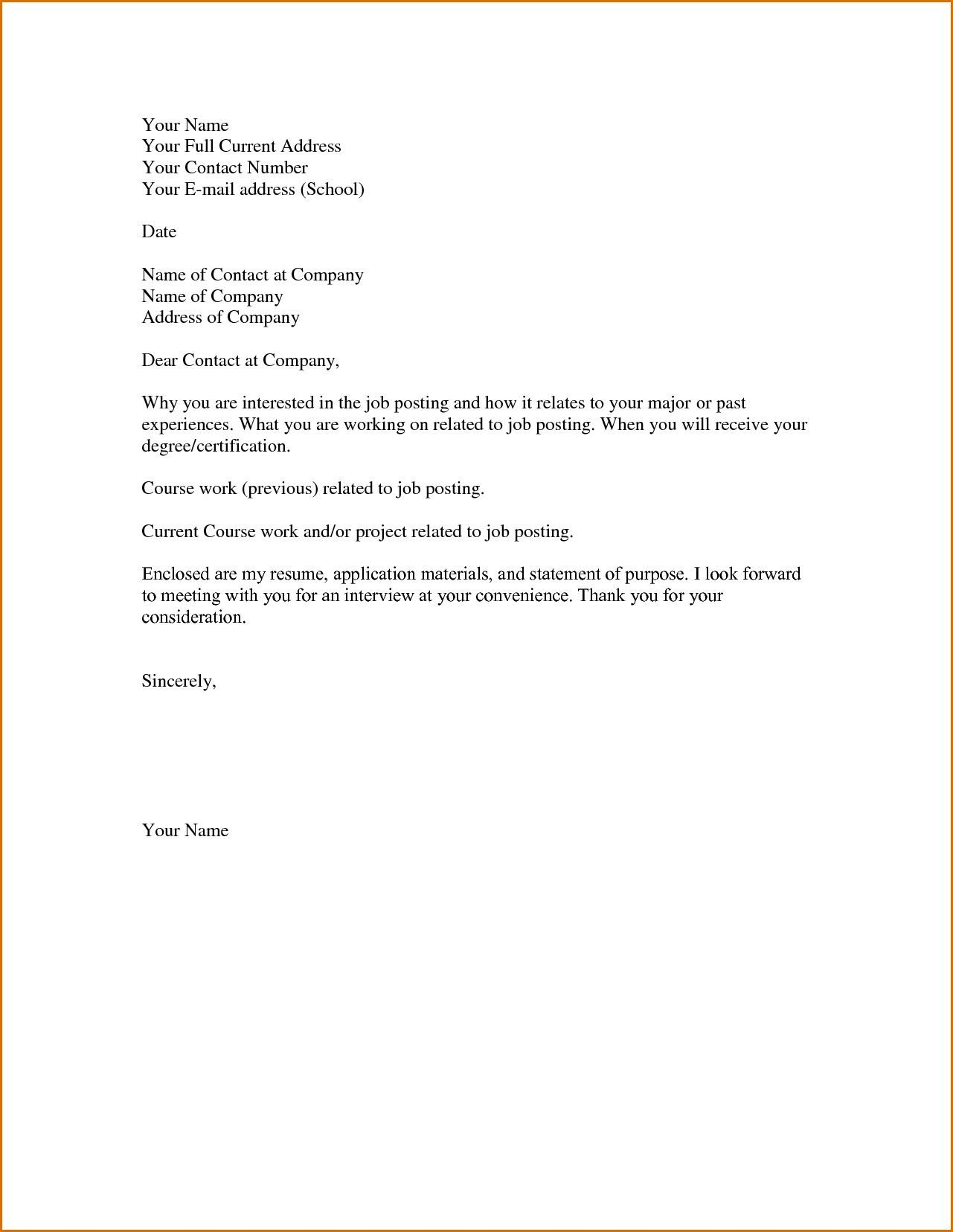 003 Stunning Basic Covering Letter Template Picture  Simple Application Job Sample CoverFull