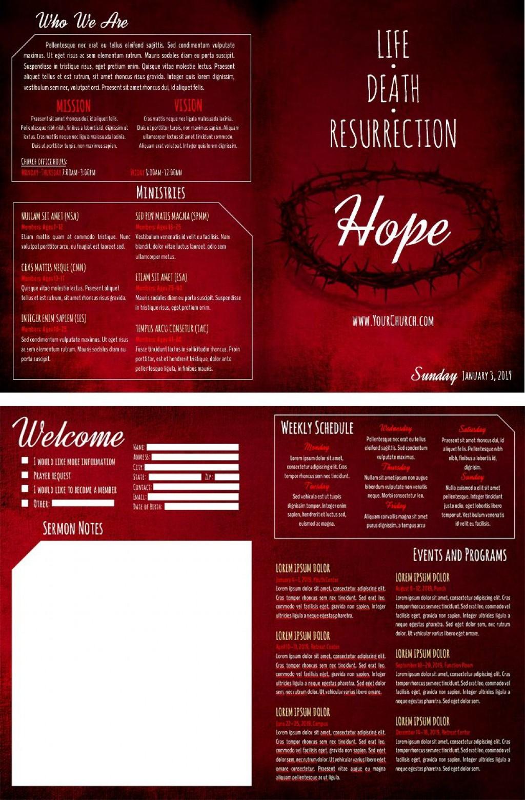 003 Stunning Free Church Program Template High Resolution  Printable Anniversary DocLarge