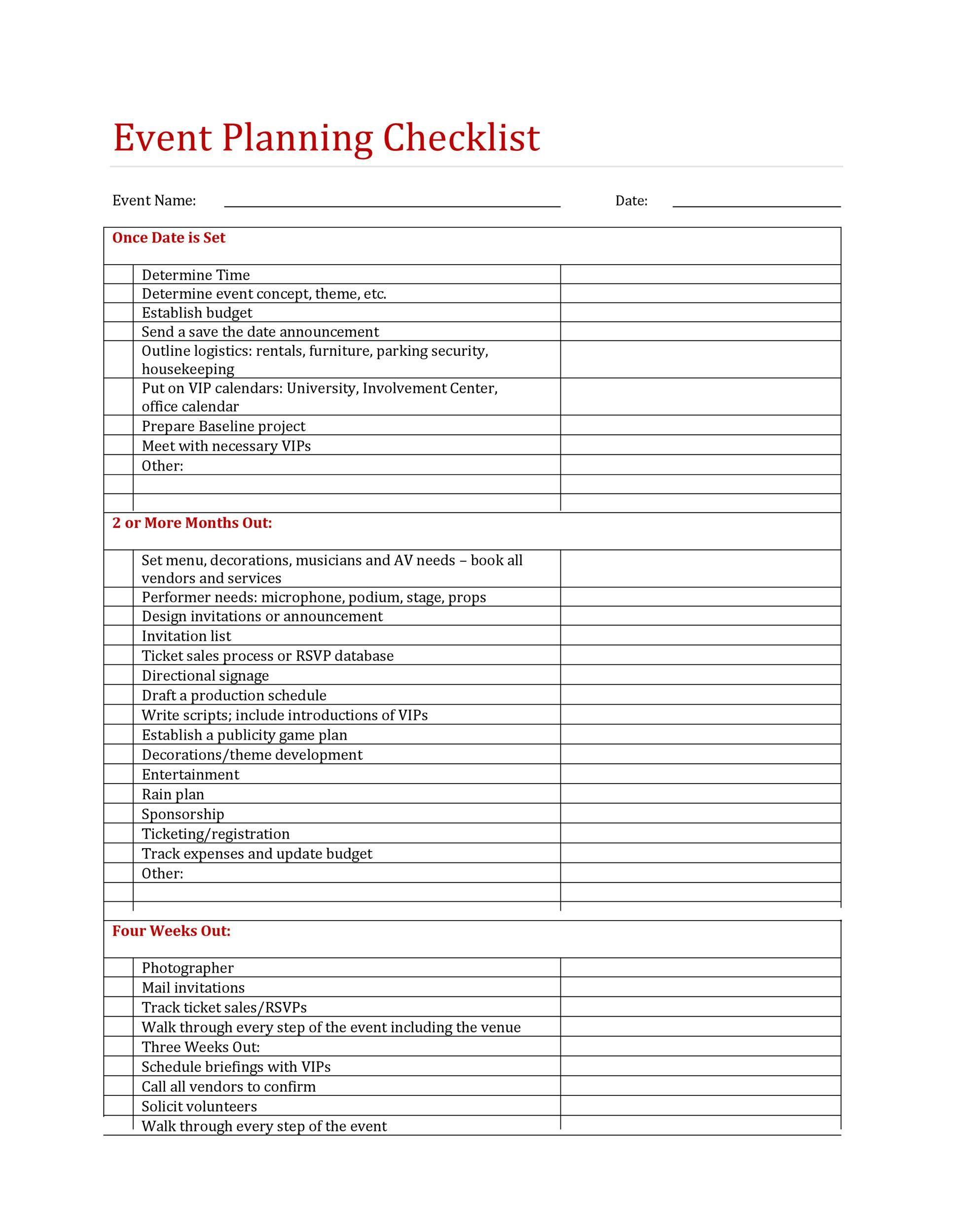 003 Stunning Free Event Planner Checklist Template Idea  Planning PartyFull
