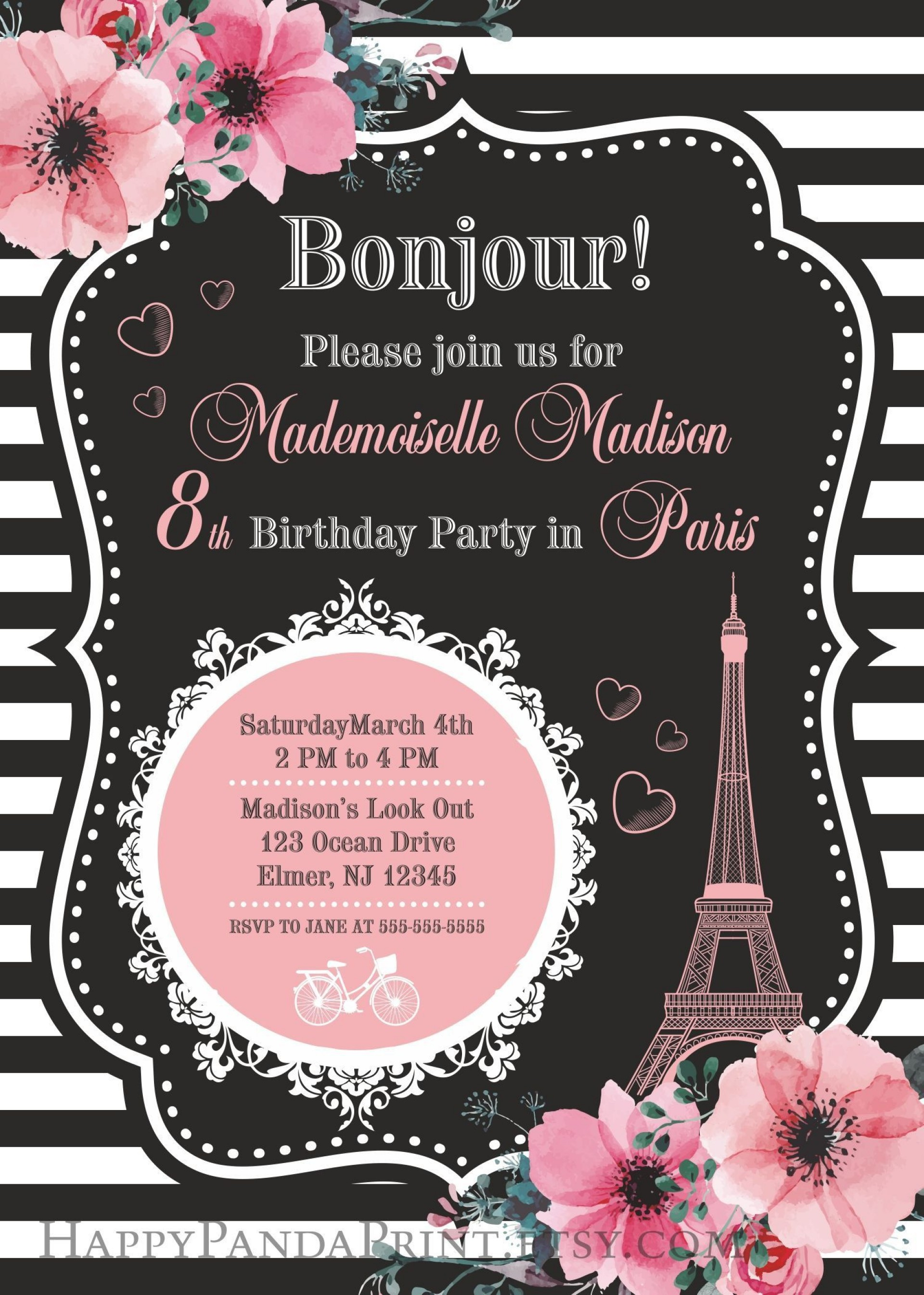 003 Stunning Free Pari Birthday Party Invitation Template Highest Clarity  Templates1920