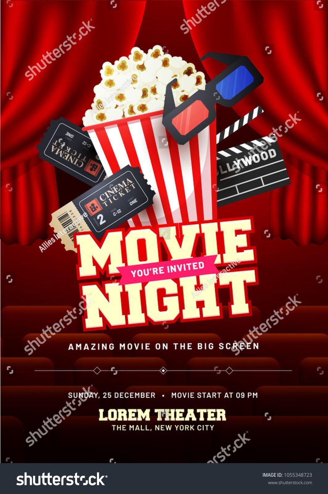 003 Stunning Movie Night Flyer Template Design  Templates Free Microsoft WordFull